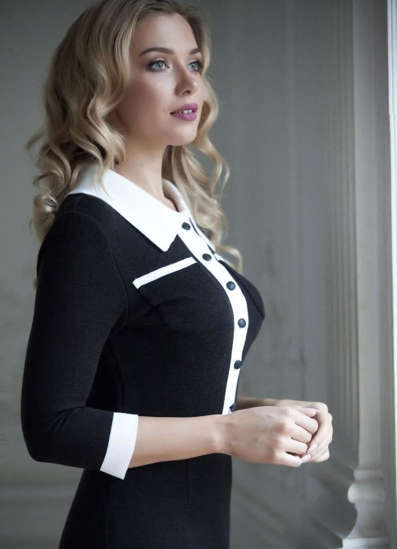 Classic black and white dress, sheath midi dress with buttons, perfect dress for every day outfit for office, business meetings