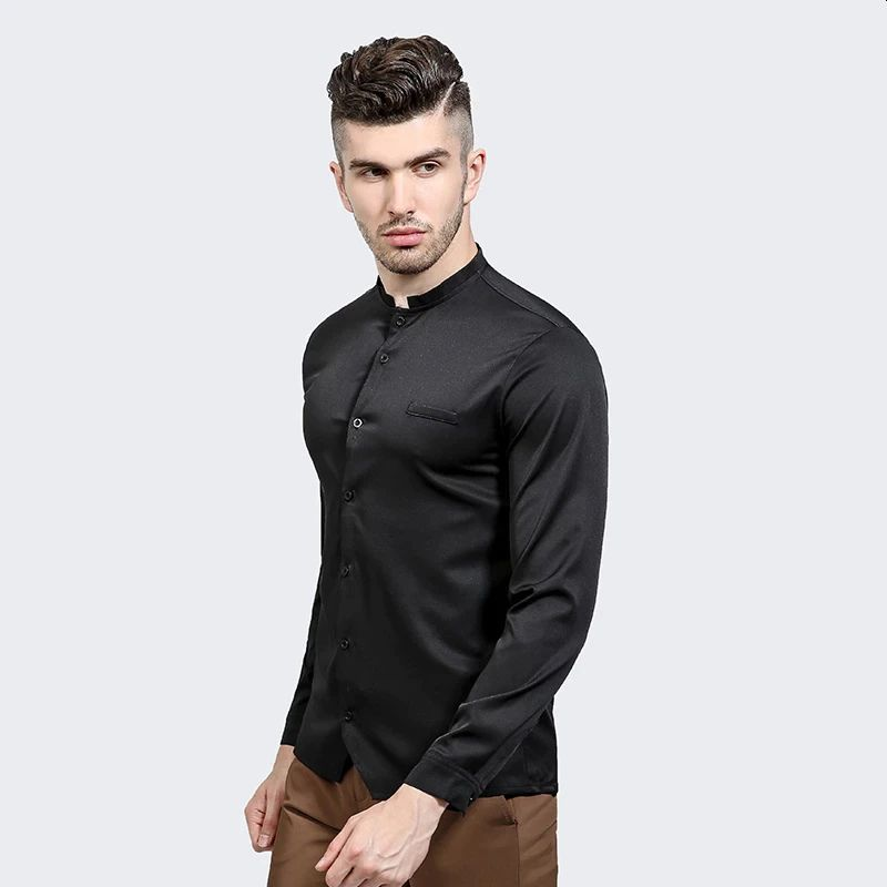 Mens Solid Shirt With Long Sleeve Slim Fit