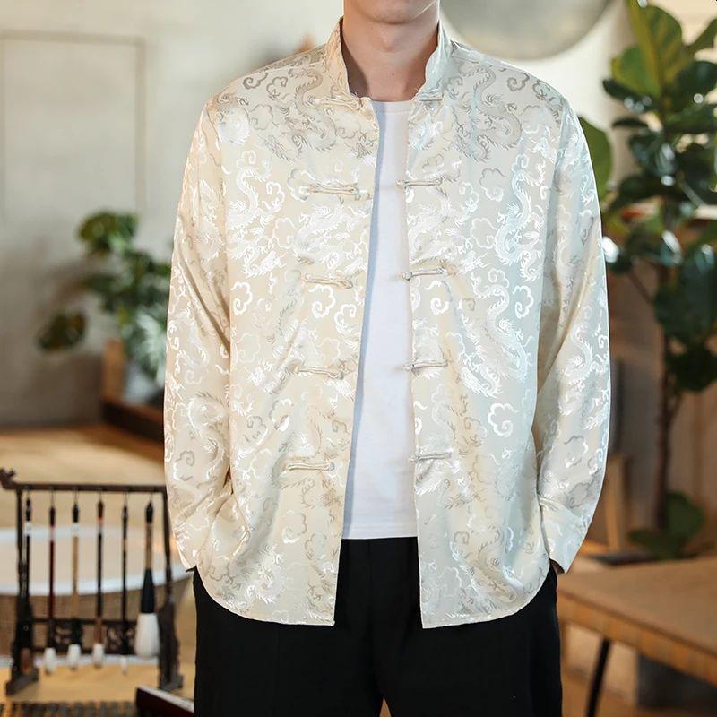 White Satin Mandarin Collar Silk Shirts For Men