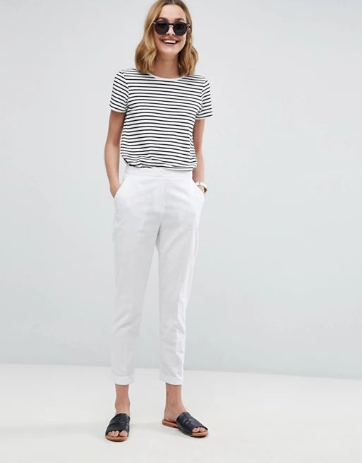 ASOS Tailored Linen Cigarette c ropped Trousers
