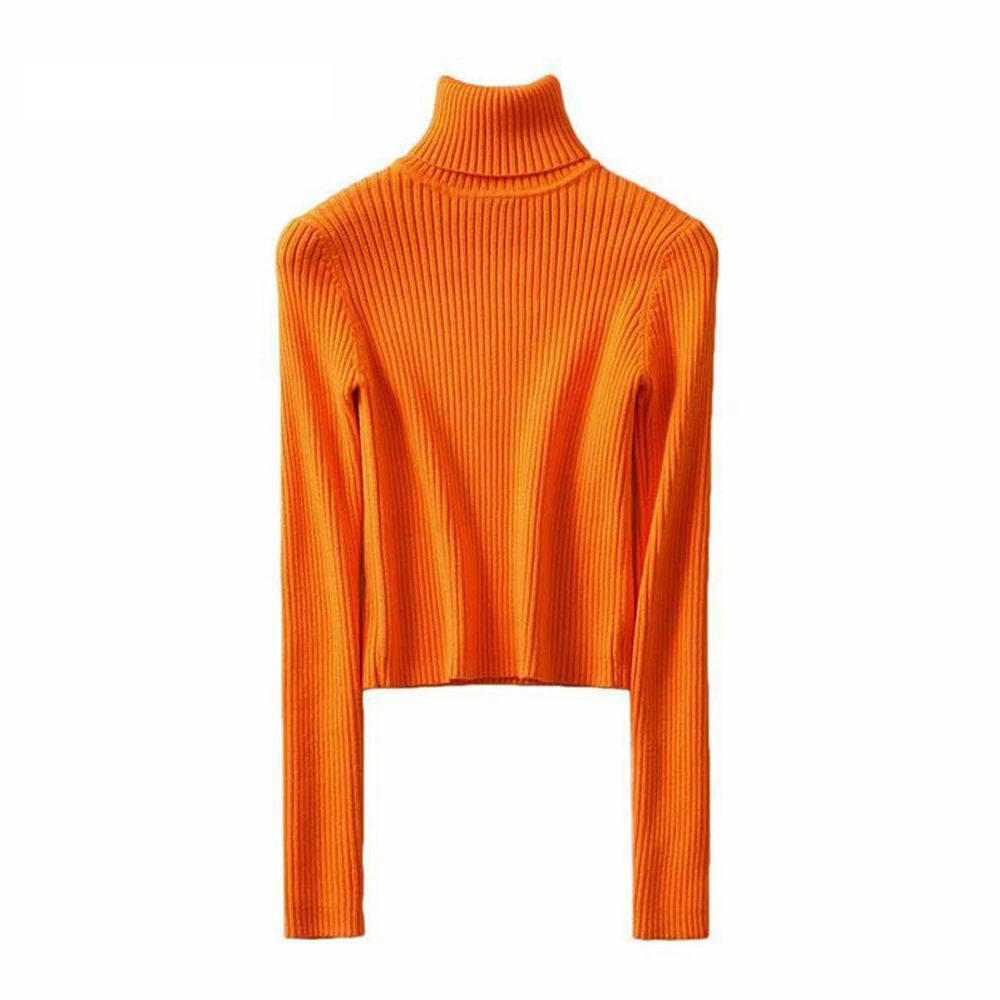Women's Long Sleeve Turtleneck Cropped Sweater, Knitted Sweater, Neon Green Orange, Winter Clothing