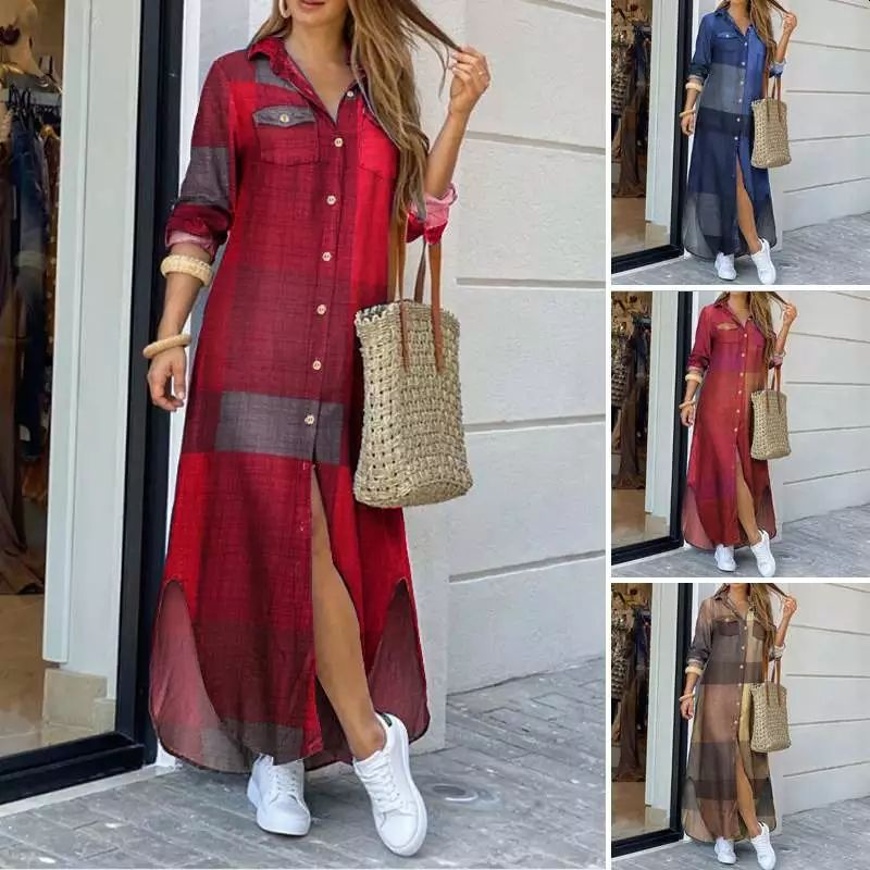 Women Button Long Shirt Dress