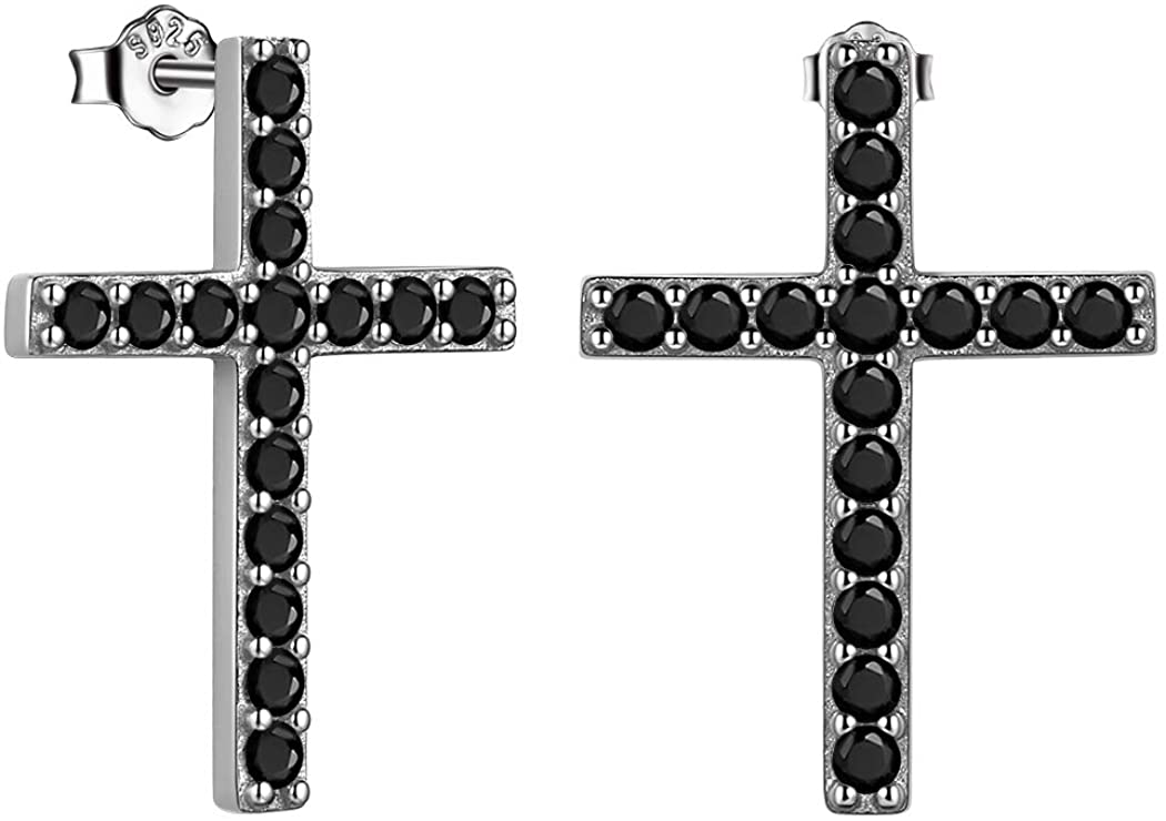 Corss Earrings for Mens Women Pave Cubic Zirconia Iced Out Earrings with Cross Sterling