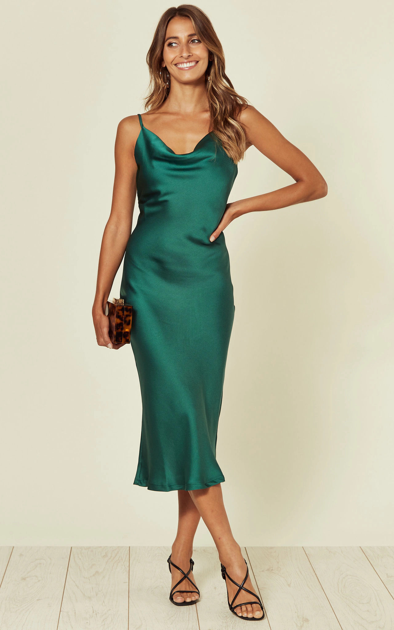 Cowl Neck Satin Slip Cami Midi Dress Green