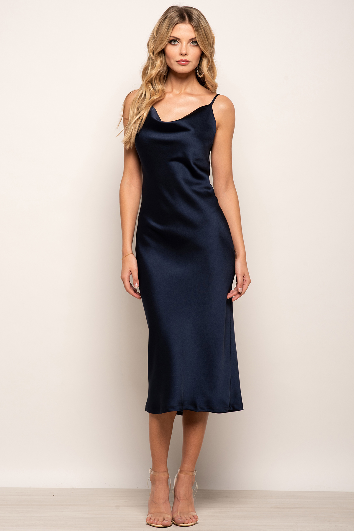 Cowl Neck Satin Slip Cami Midi Dress Navy