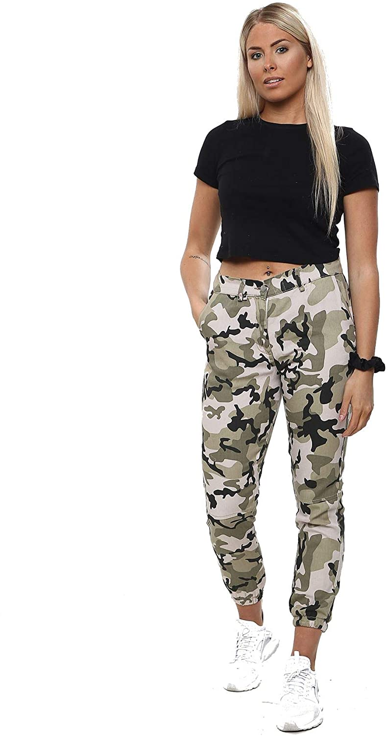 Crazy Girls Ladies Camouflage Military Cuffed Leg Double Pocket Trousers