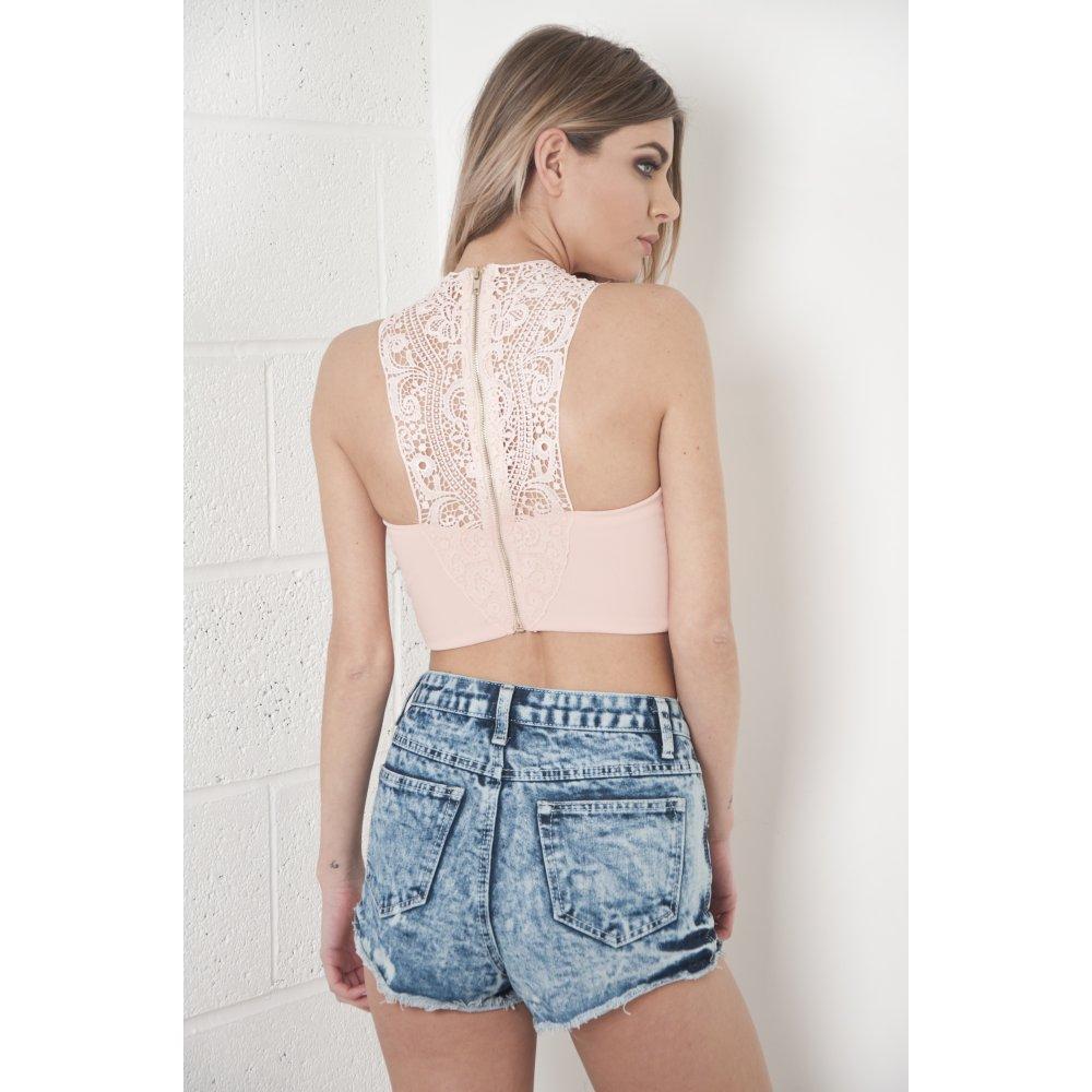 Crochet Back Crop Top In Pink
