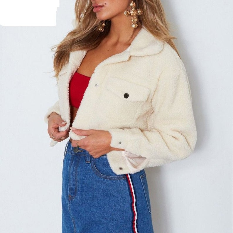 Cropped Teddy Jacket Women Front Pockets Thick Warm Coat Autumn Winter Soft Short Jackets