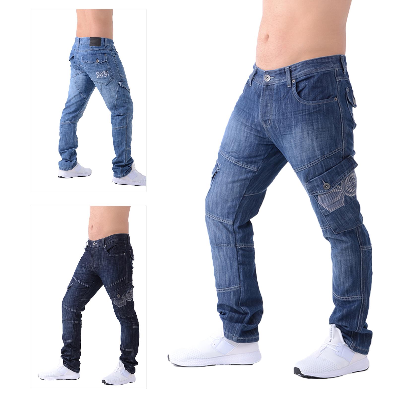Crosshatch Men's New Cargo Jeans Straight Leg Combat Denim Work Utility Trousers