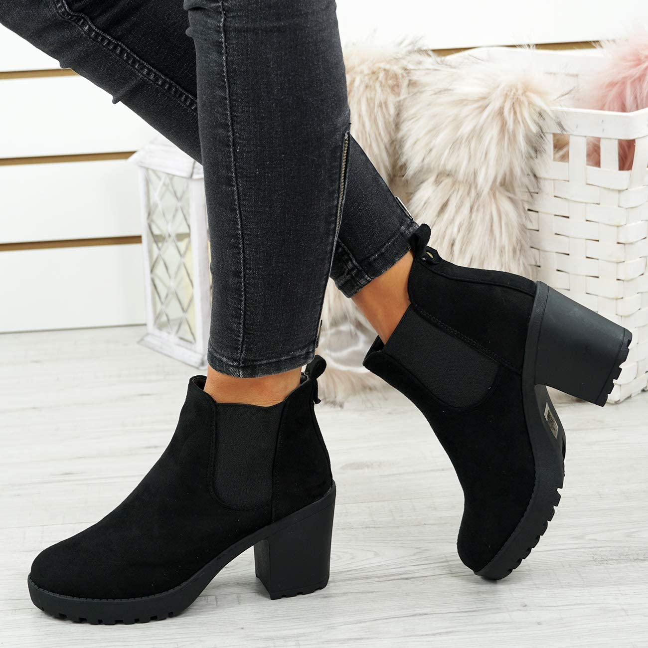 CucuFashion Ankle Boots for Women - Fashionable Chelsea Boots Women, Twin Gussets Chunky Block Heel Womens Boots, Comfortable Ladies Boots