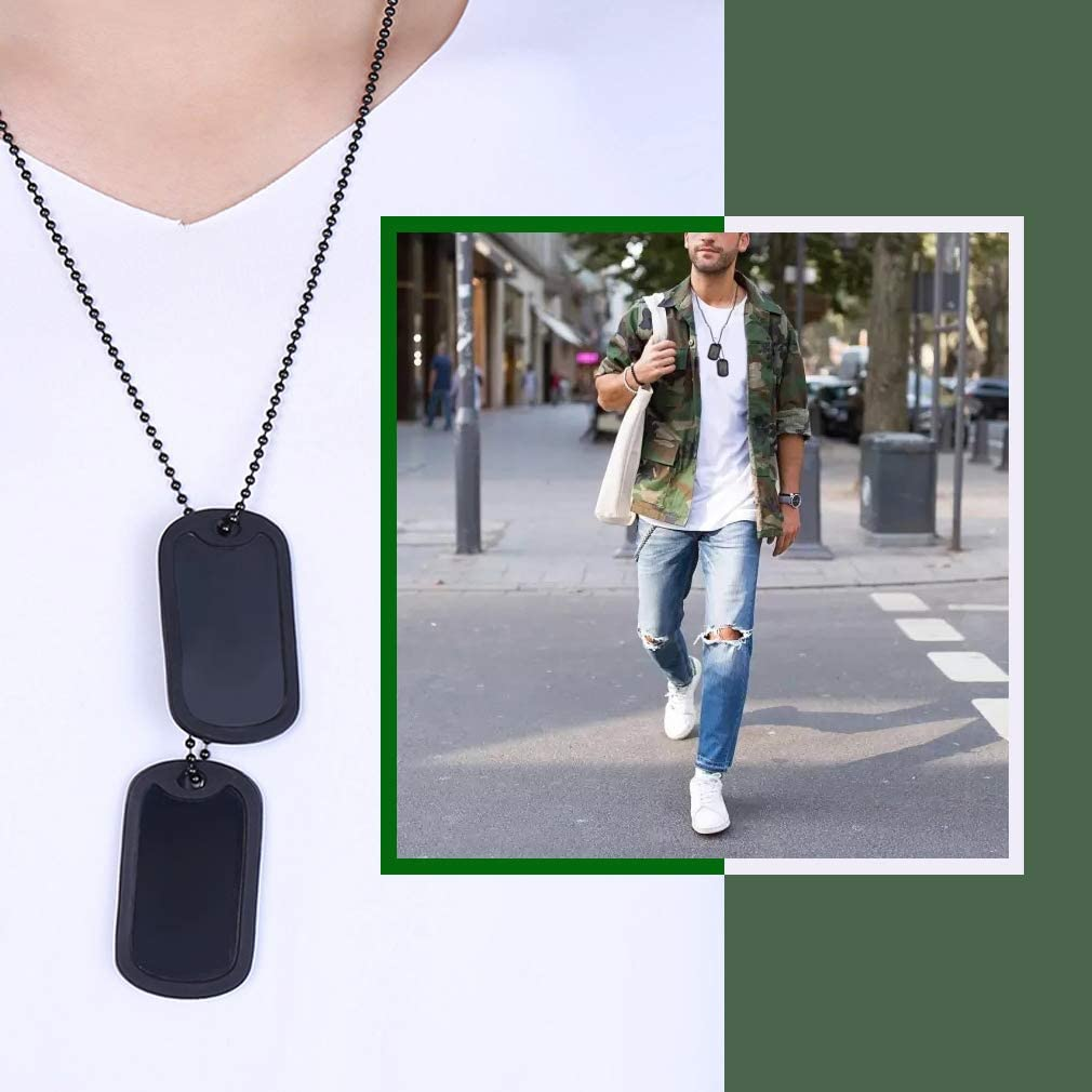 Custom4U Military Dog Tag Mens Black Necklace Men Hip Hop Stainless Steel Necklace Mens Dog Tag Pendant Charm Necklace Mens Accessories Waterproof Necklace