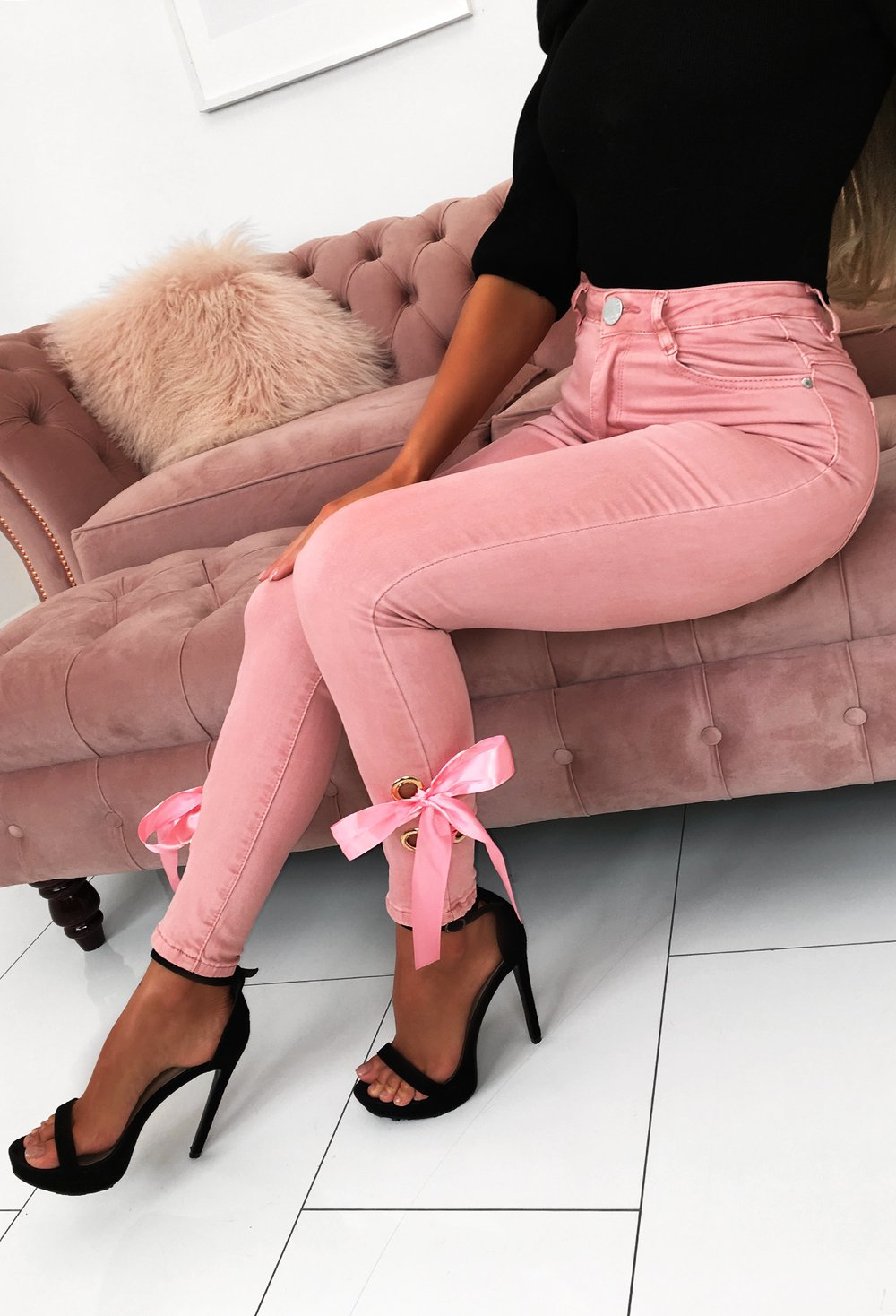 Cuteness Blush Pink Bow Detail Stretchy Skinny Jeans