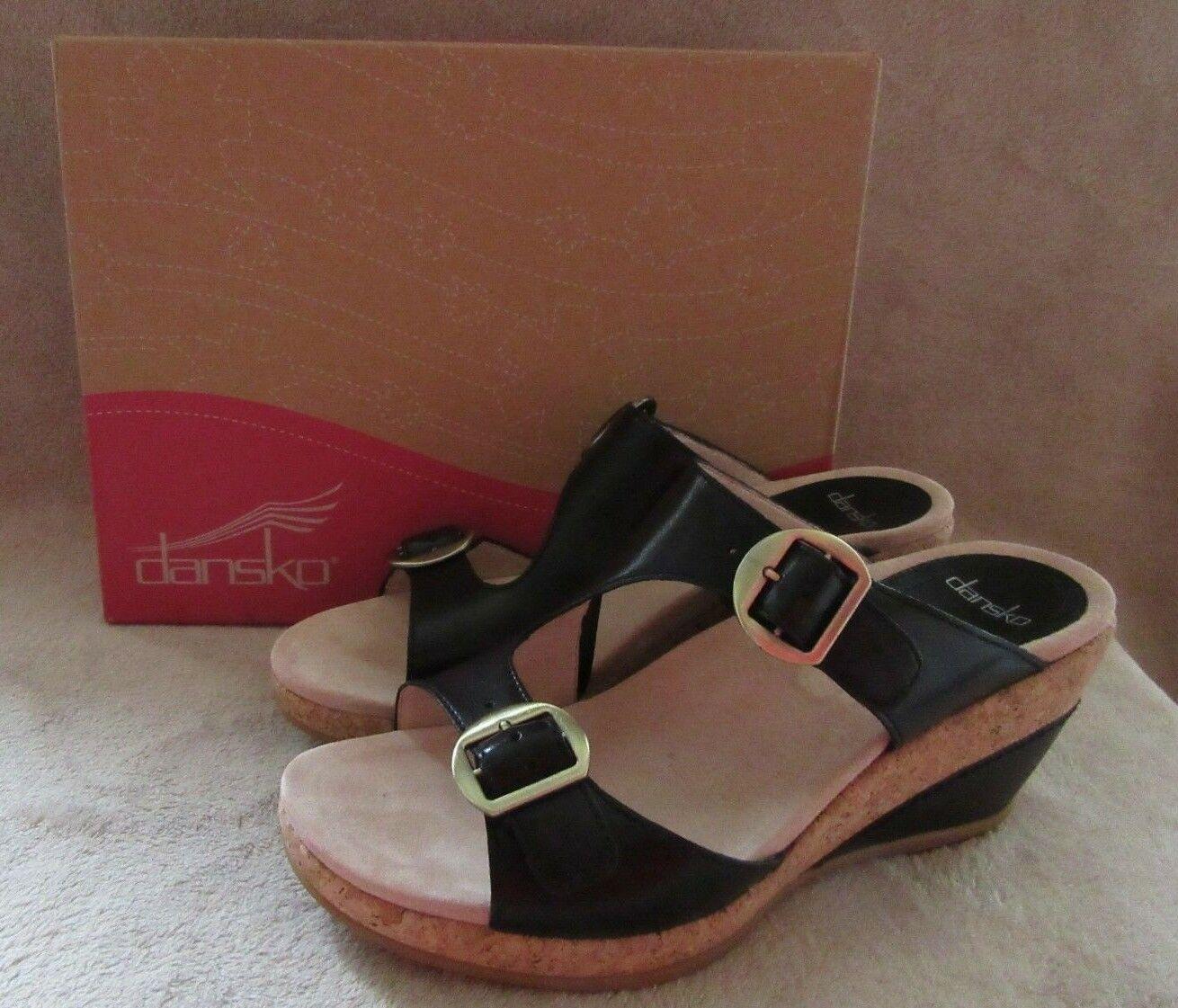 DANSKO Carla Full Grain Black Leather Sandals