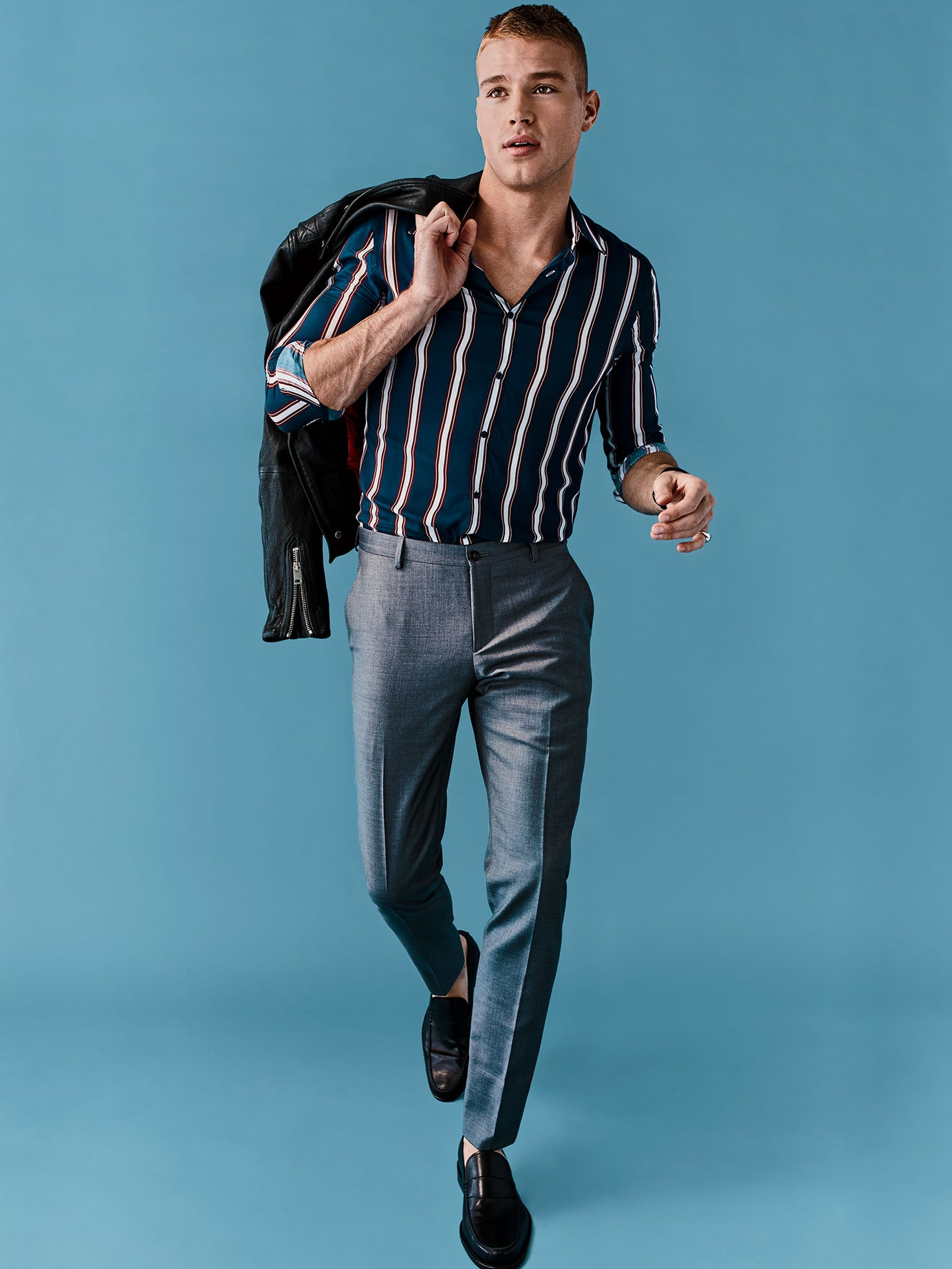 Dark Coloured shirt Striped Print Shirt