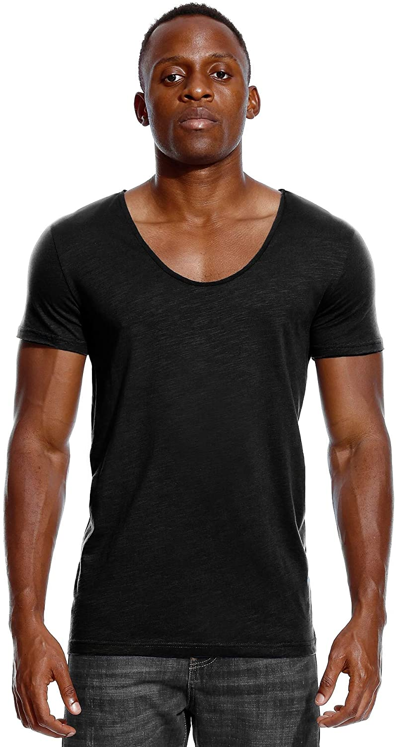 Deep V Neck T Shirt for Men Low Cut Scoop Tee Invisible Vee Top Cotton Short Sleeve Wide Neck