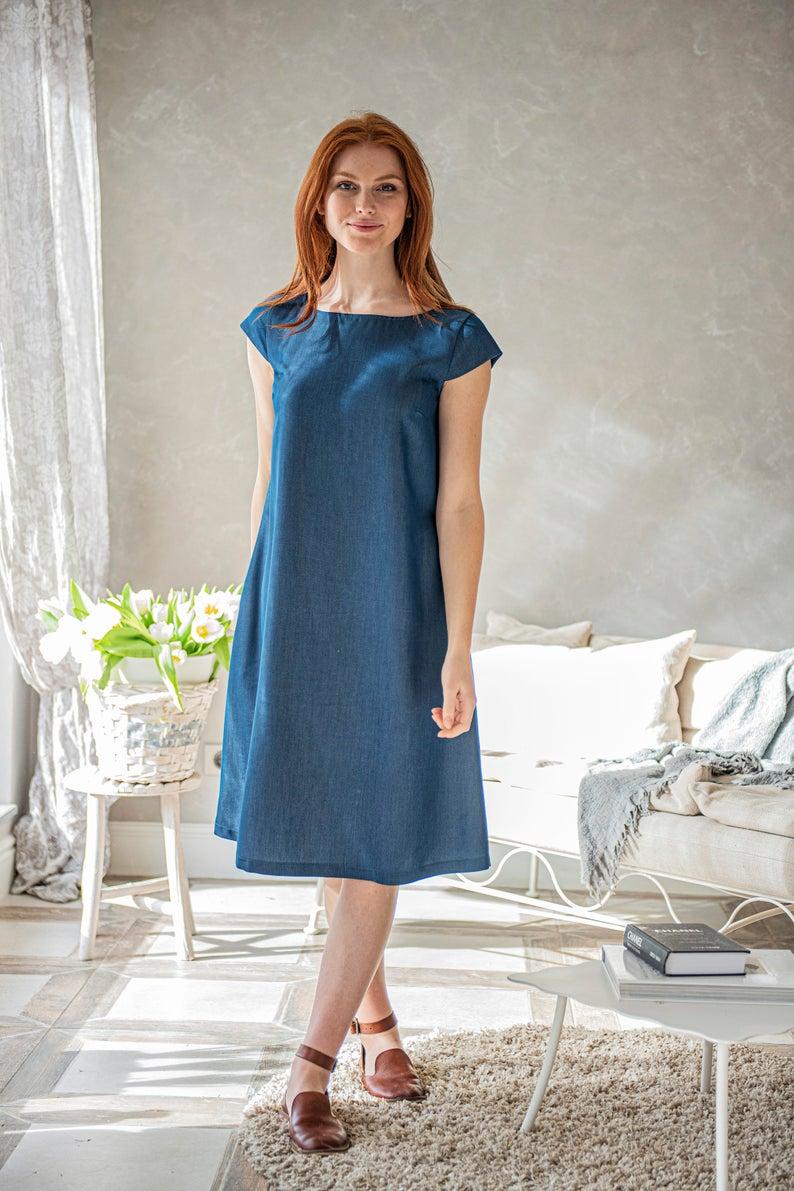Denim Blue Dress, Midi Dress for Women