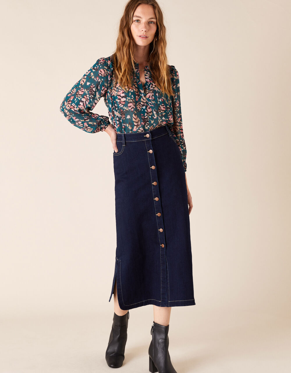 Denim midi skirt in organic cotton blue