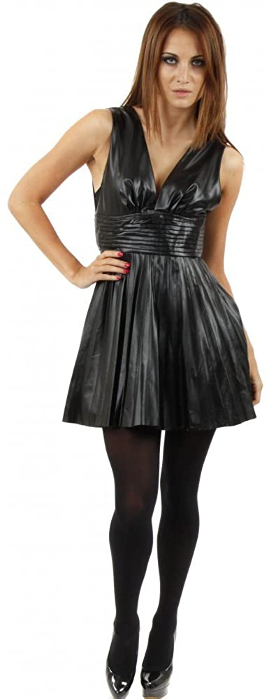 Designer Desirables Black Faux Leather Pleated Mini Skater Dress