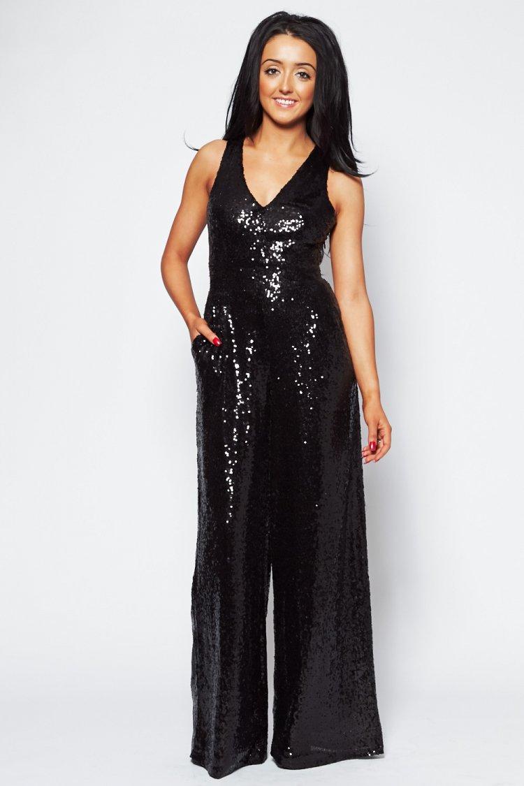 Diana black sequin cross back jumpsuit
