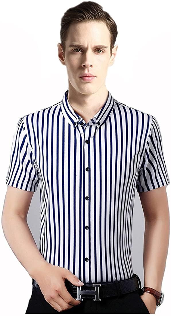 Dichuan Men's Vertical Striped Dress Shirts Premium Blouse Comfortable Cotton Short Sleeve Business Shirts Slim Fit Smart Button-Down Formal Shirt
