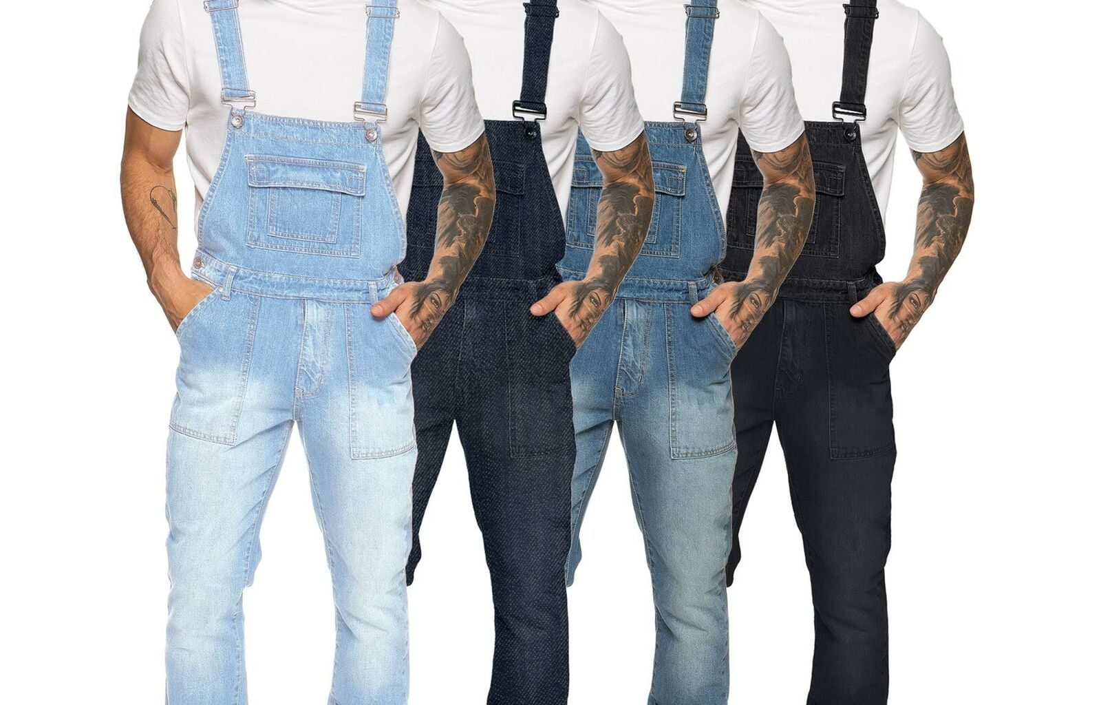 Different Styles of Black Overalls or Dungarees for Men and Women