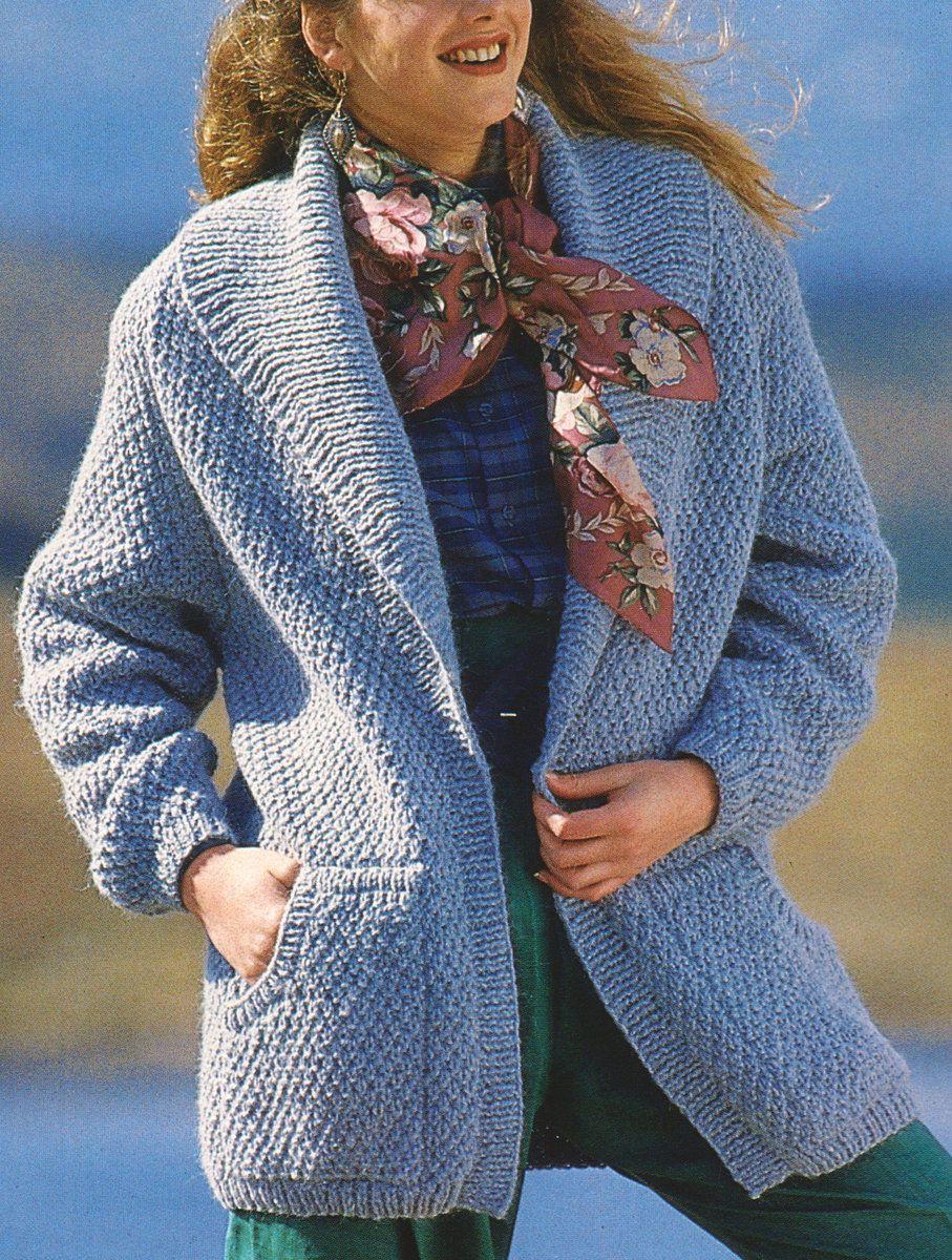 "Digital Download PDF Vintage Knitting Pattern Women's Ladies Chunky Jacket Cardigan 30 -40"" Easy"