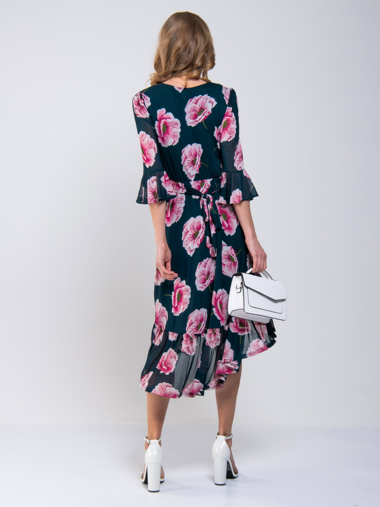 Dipped Hem Mesh Midi Dress Navy Floral