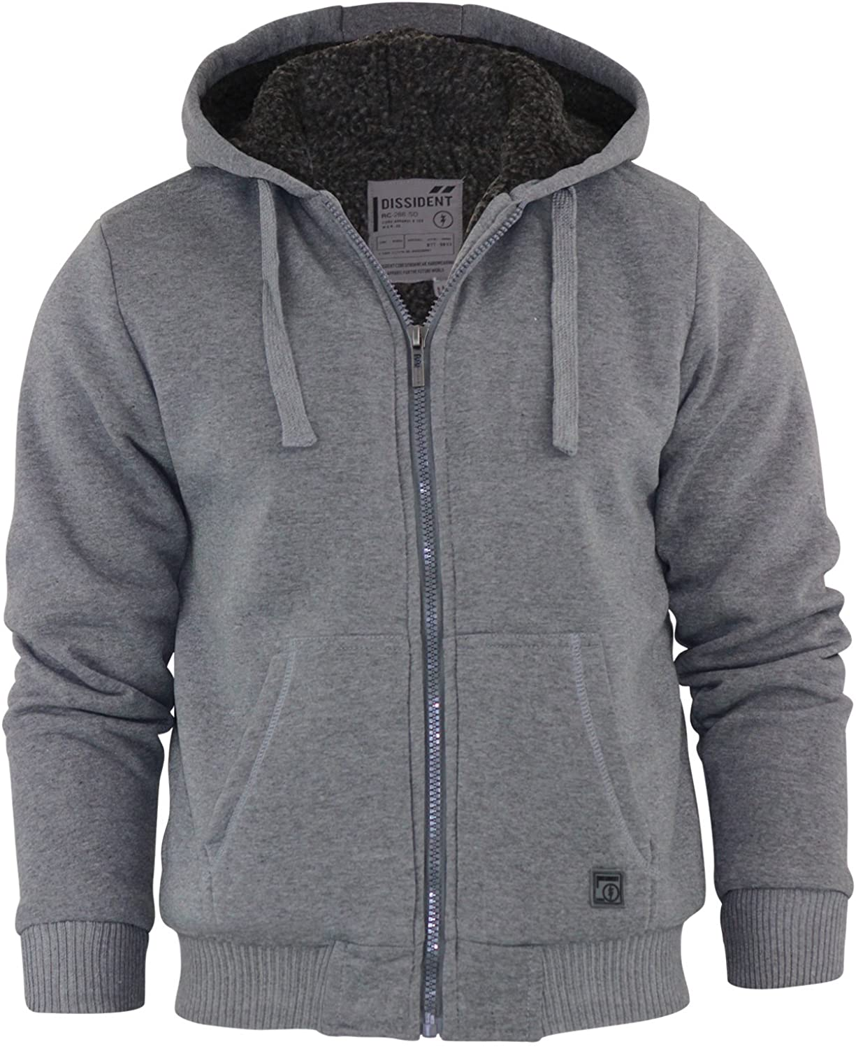 Dissident Mens Hooded Jacket Sherpa Fleece Hoodie Zip Up Sweat