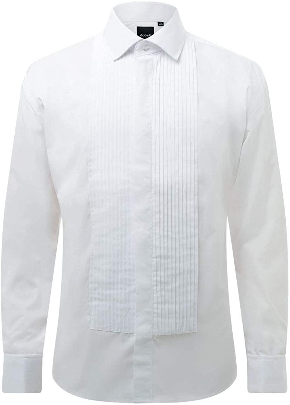 Dobell Mens White Tuxedo Dress Shirt