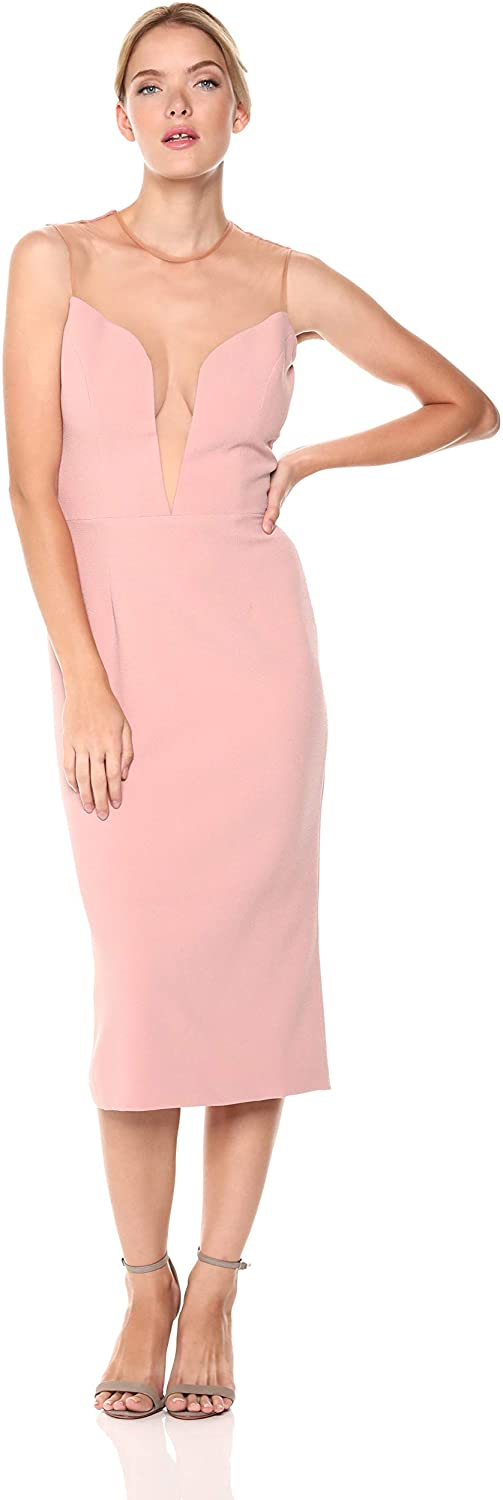 Dress the Population Women's Helen Plunging Illusion Stretch Crepe Fitted Midi Dress Bridesmaid