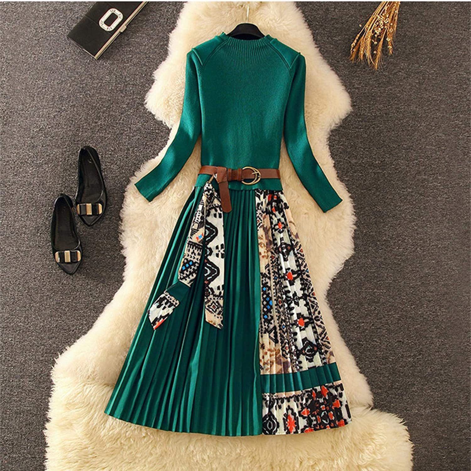 Dresses For Women Knitted Pleated Midi Dress Fashion Women Long Sleeve Printing Knitted Spliced Draped Casual Dress