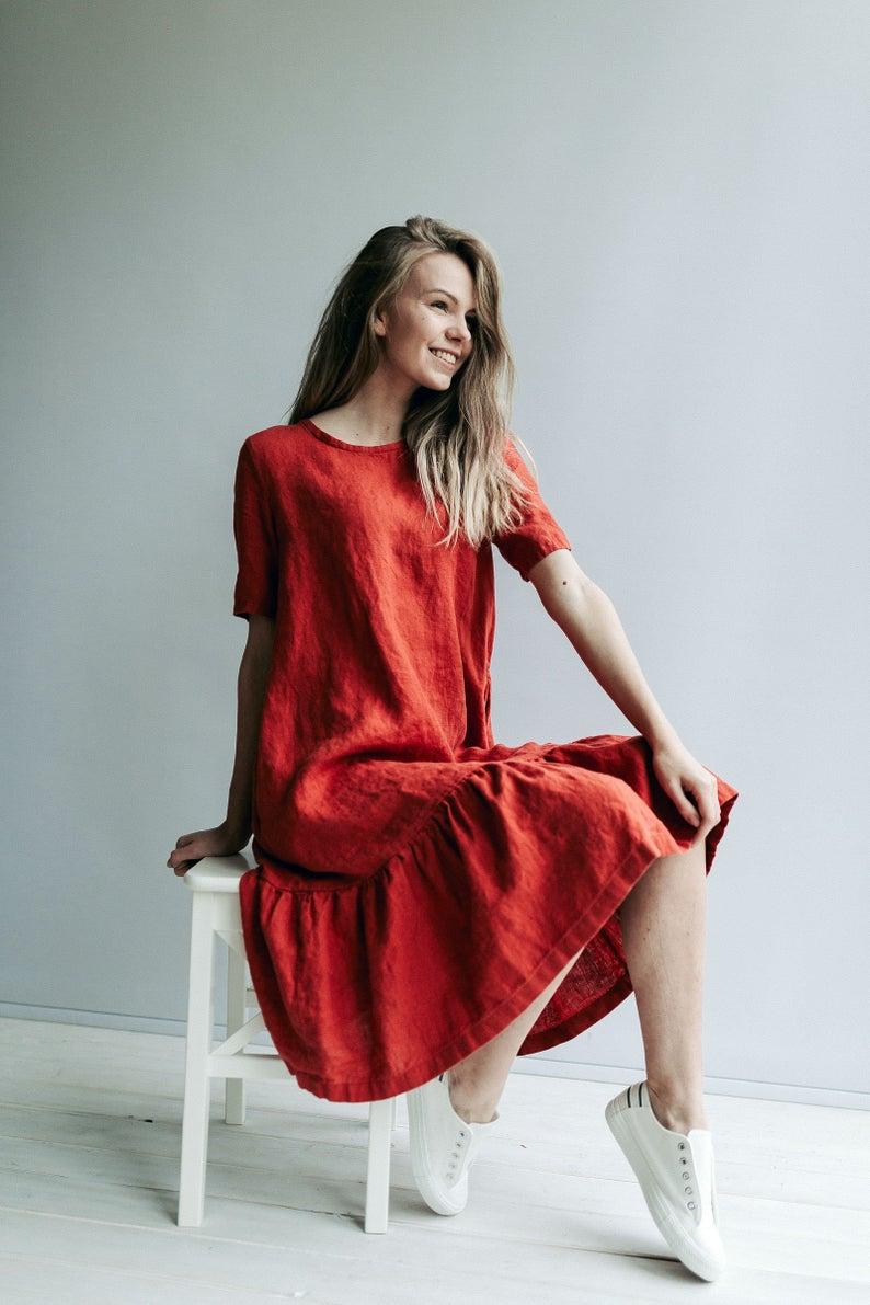 Drop Waist Dress 'Juliana' A line Dress from Linen, Drop Waist Linen Dress, Linen Dresses for Women, A line dress, Short Sleeve Dress
