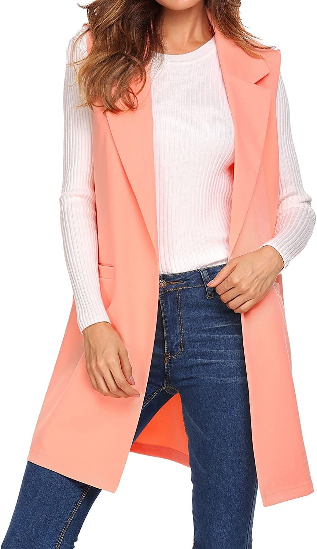ELESOL Women's Casual Sleeveless Oversized Open Longline Duster Blazer