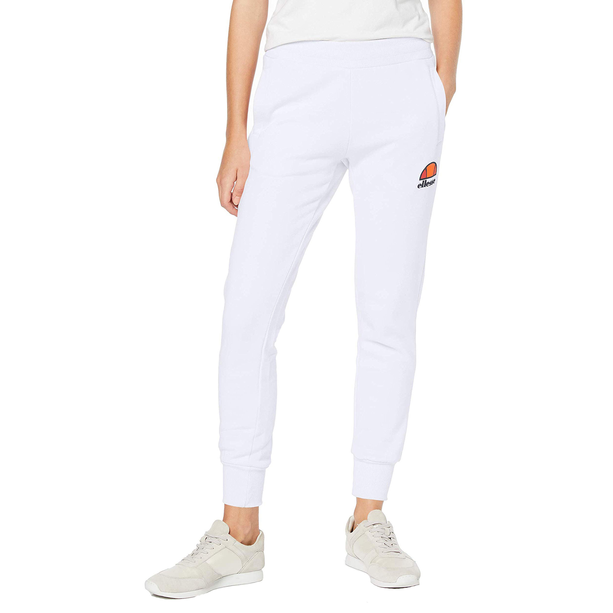 ELLESSE WOMENS QUEENSTOWN JOGGING SWEAT PANTS WHITE