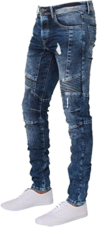 ENZO Mens Designer Stretch Skinny Fit Biker Denim Jeans