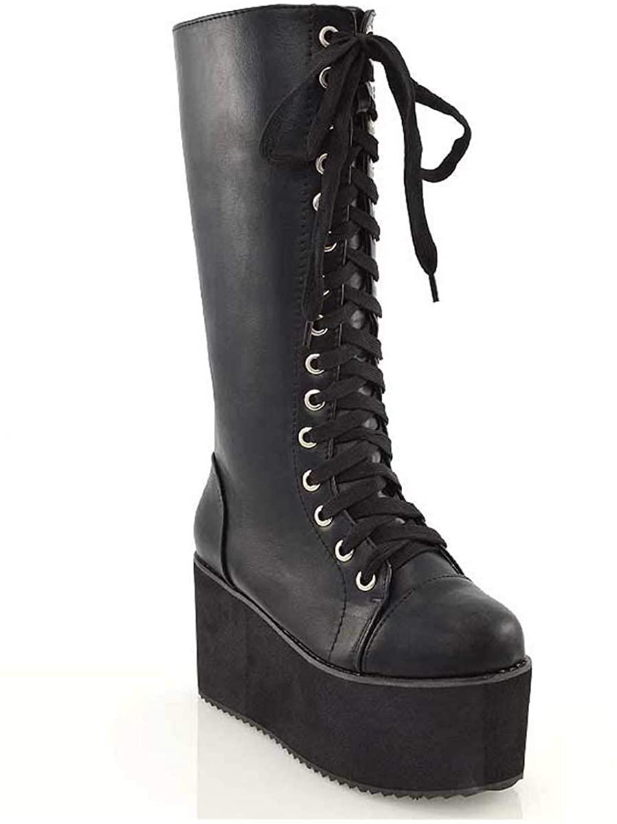 ESSEX GLAM Ladies Knee High Platform Wedge Womens Platform Lace Up Biker Boots