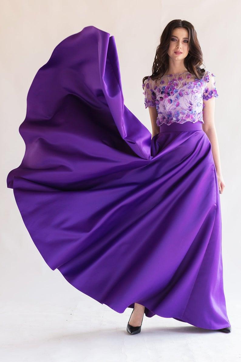 Elegant satin skirt, maxi high waist satin skirt, with pockets, long satin skirt