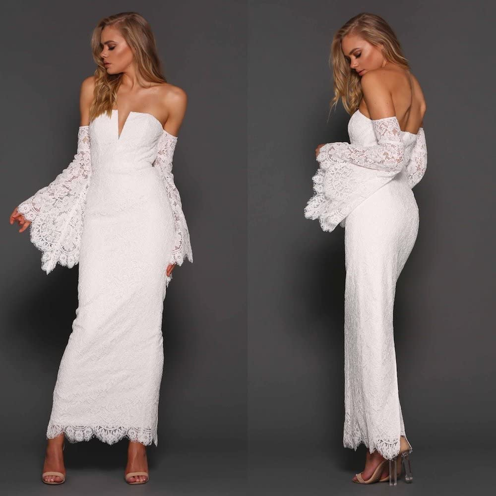 Elle Zeitoune Designer Lace Off The Shoulder White Maxi Dress