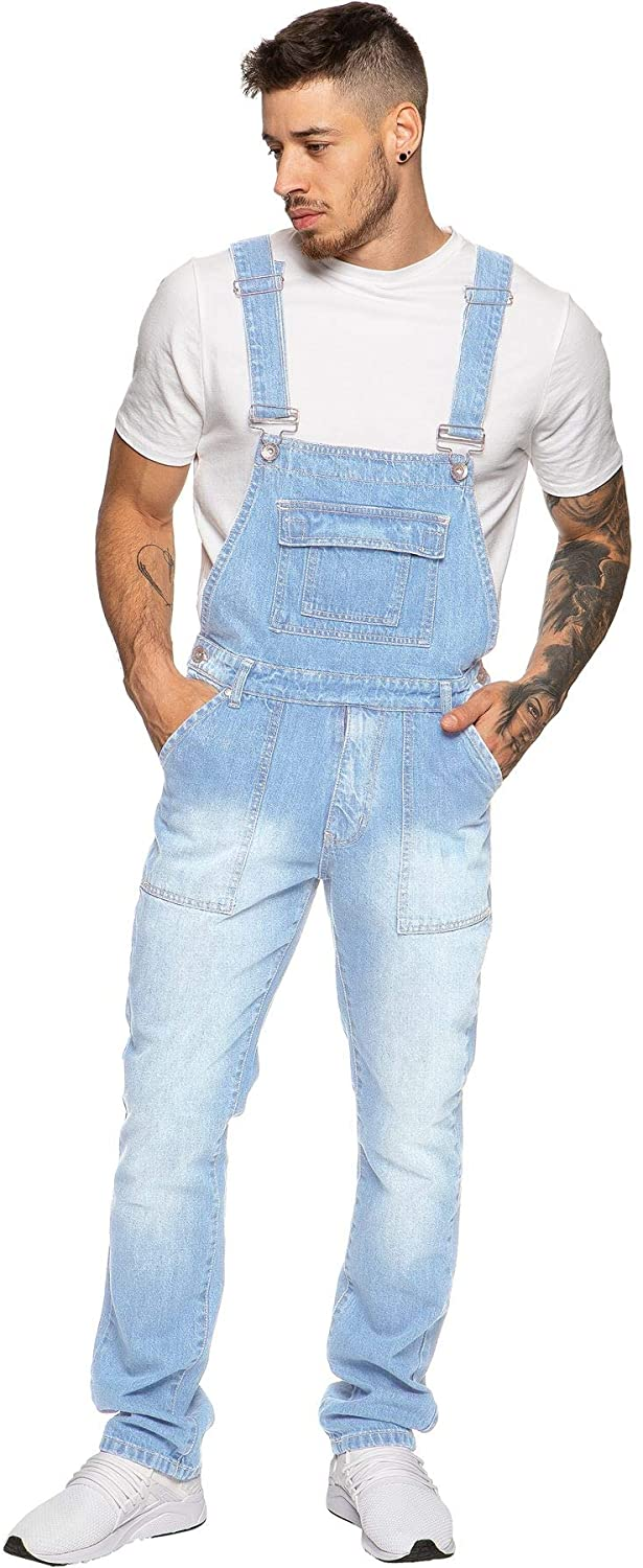 Enzo Jeans Mens Denim Blue Dungarees Stonewash Dungaree Overalls Waist