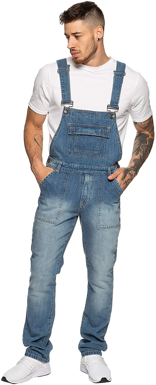Enzo Jeans Mens Denim Blue Dungarees Stonewash Dungaree Overalls