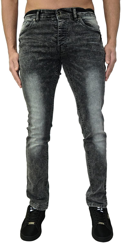Enzo Mens Jeans Skinny Stretch Denim Designer Ripped Stylish Acid Wash Distress Look