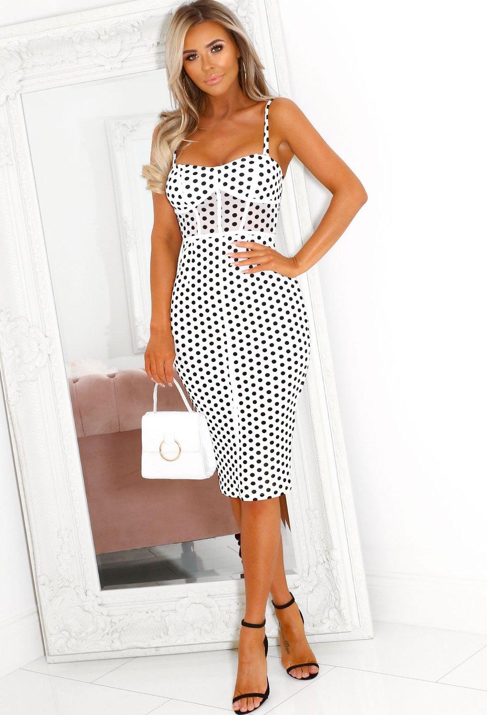 Ester White Structured Polka Dot Midi Dress