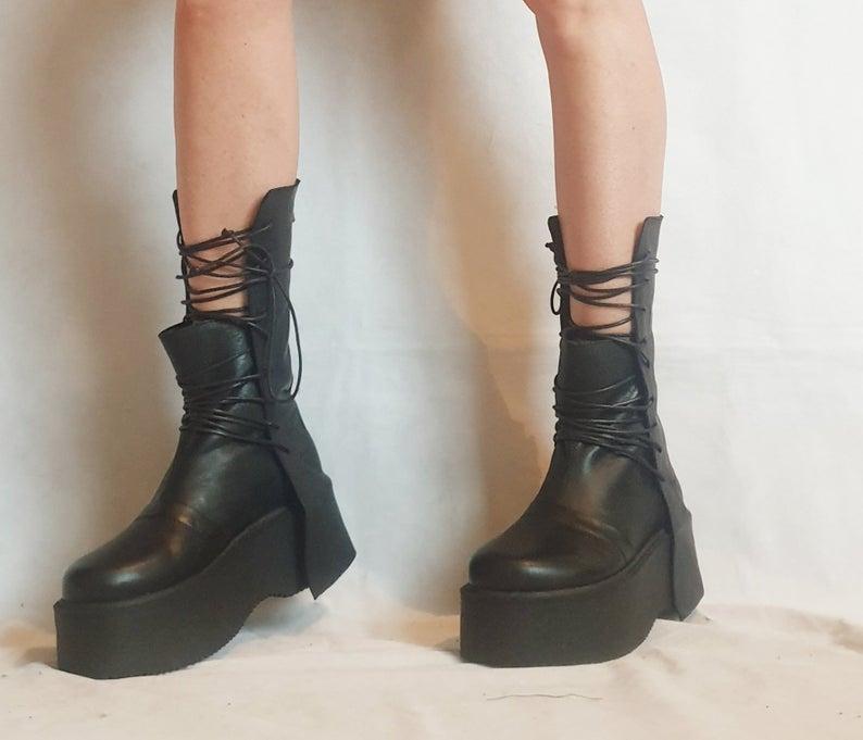 Extravagant Women Boots, Black Platform Shoes, Platform All seasons, Gothic Women Booties, Leather Ankle Boots, Platform Grunge Boots