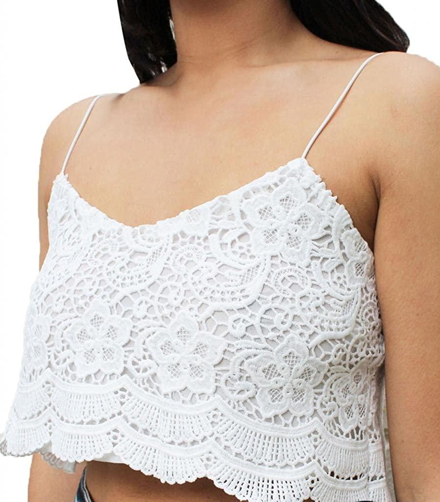 Eyelash Lace Crochet Festival Strapless Top White Cream Top
