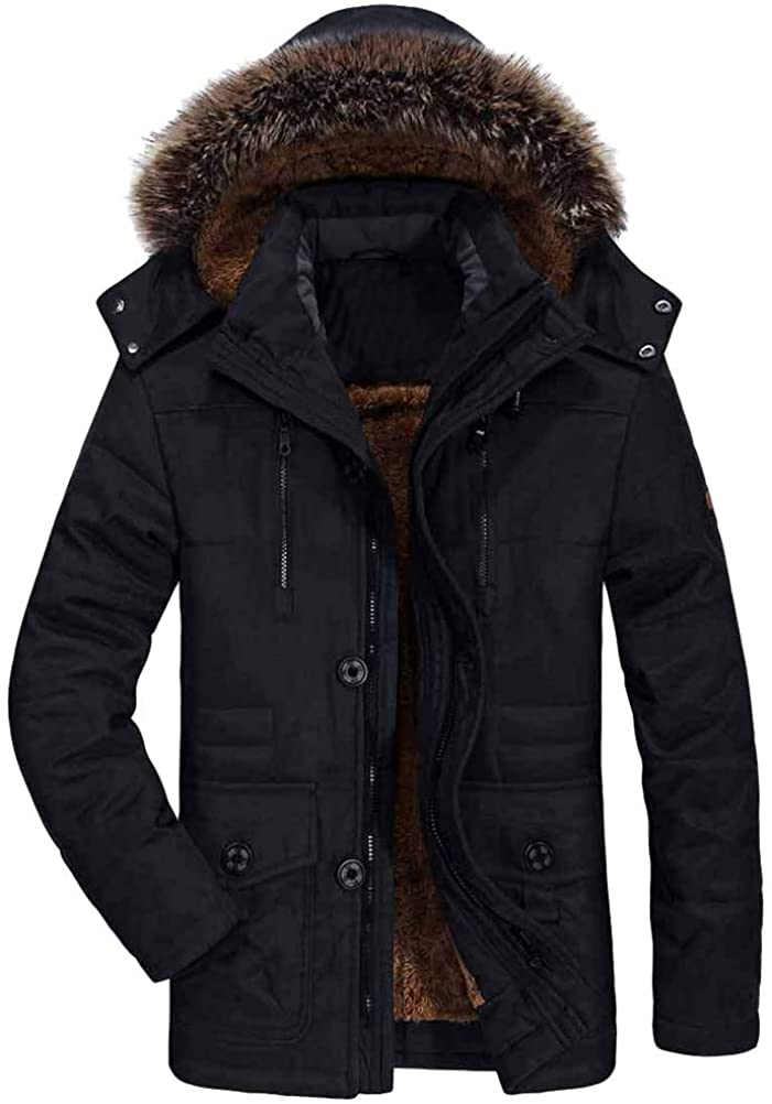 FTCayanz Men's Down Parka Jackets Winter Warm Fleece Coat with Fur Hood