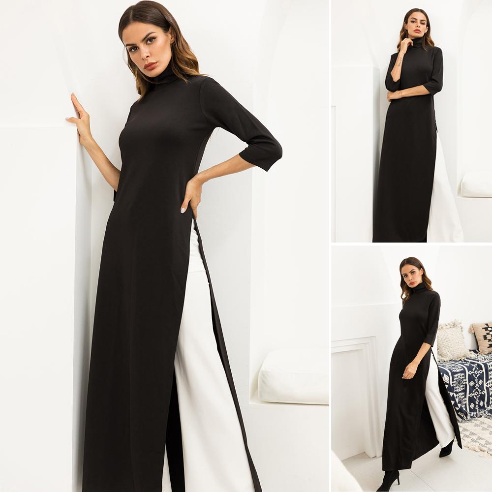 Fashion Women Dress Ao Dai Style Maxi Turtle Neck 3/4 Sleeve Elegant Slit Casual