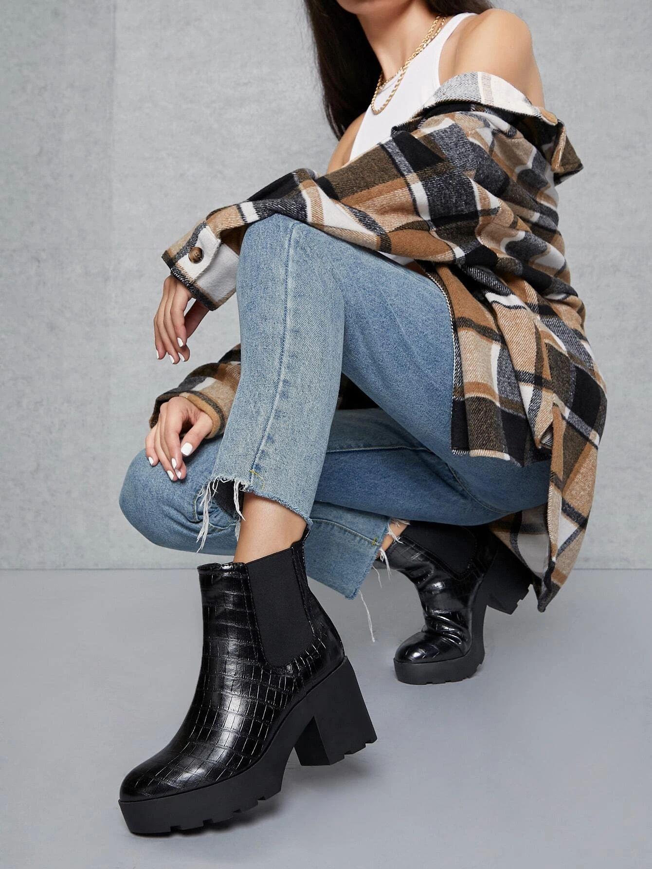 Faux Croc Leather Lug Platform Ankle Boots