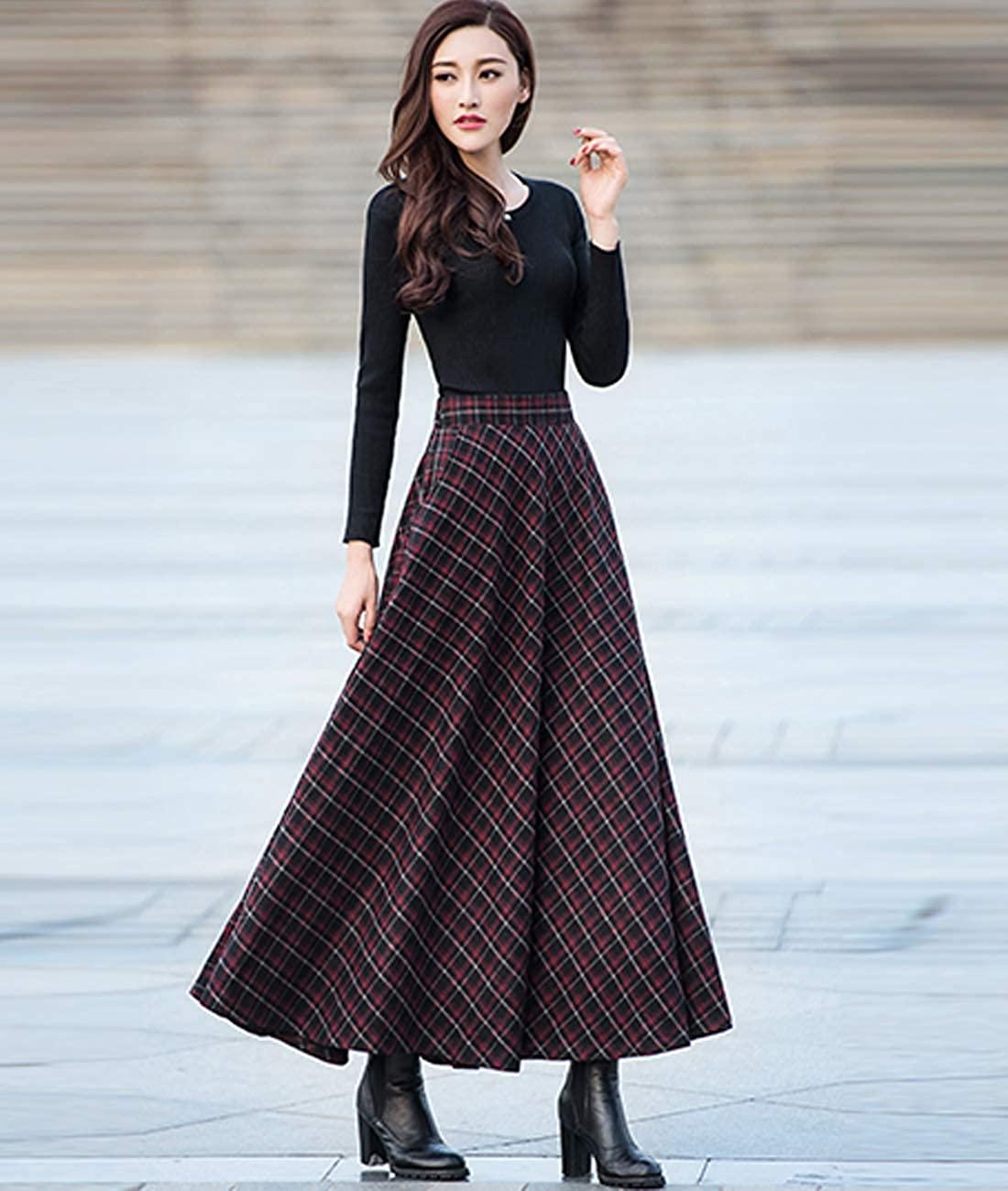 Femirah Women's High Waist A-line Flared Skater Long Skirt Woolen Pleated Skirt