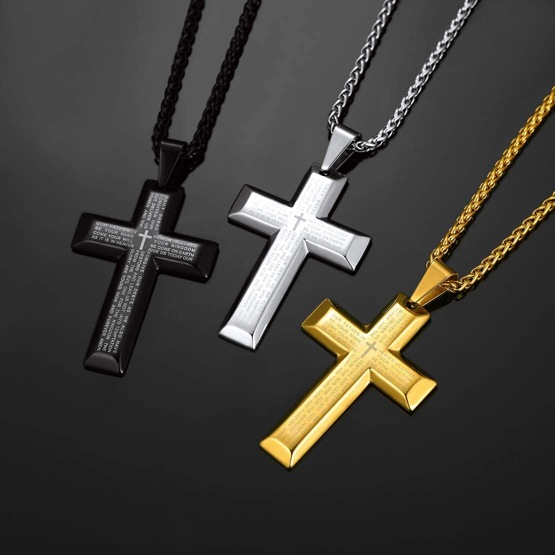 FindChic Men Women Jesus Christ Crucifix Cross Pendant Necklace Holy Christian Stainless Steel Religious Jewellery Cross Chains