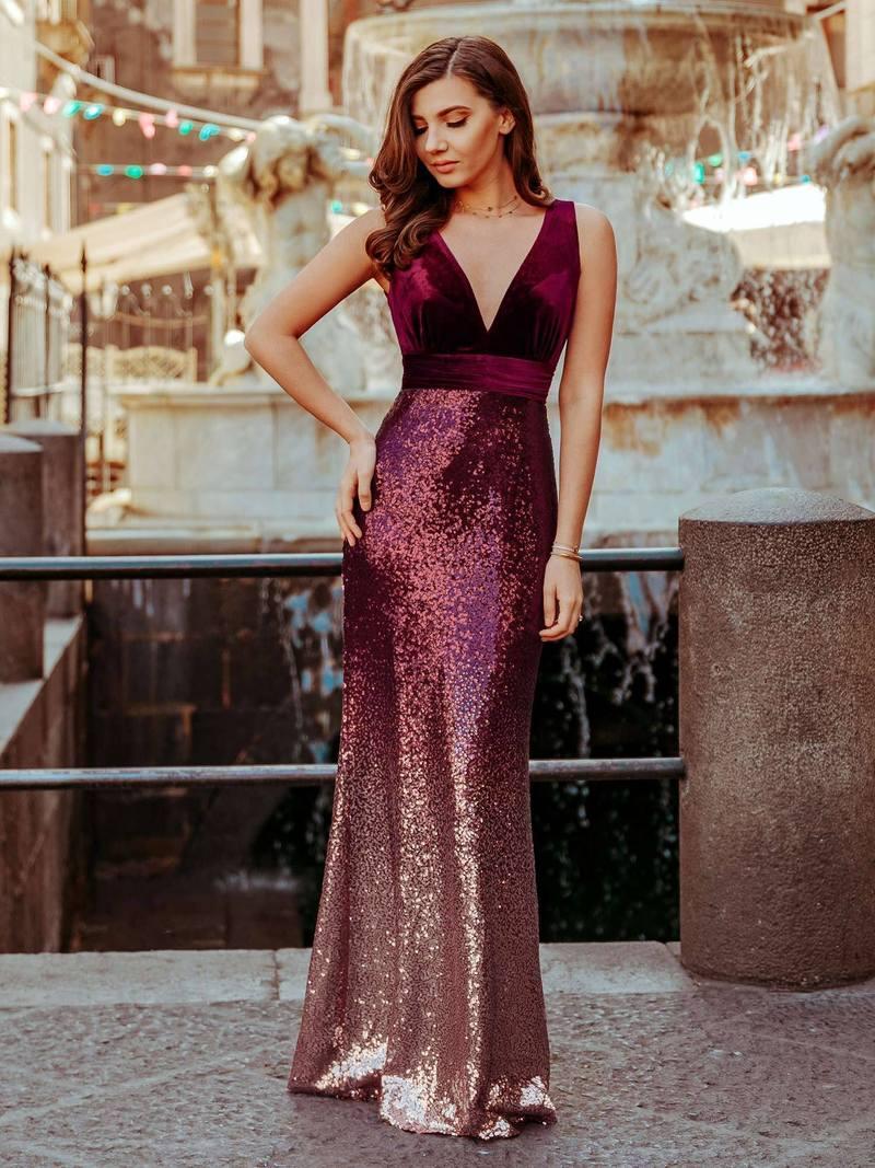 Floor Length Sequin & Velvet Maxi Long Mermaid Prom Dresses